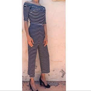 TopShop Navy Blue+White Striped stretch Jumpsuit